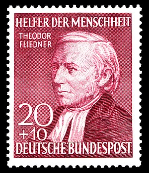Theodor Fliedner - Pastor Theodor Fliedner. German social welfare stamp. 1952