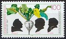 Die Briefmarke von 1992 zum 125. Jahrestag der Gründung des Zuckerinstituts in Berlin zeigt Scherenschnitte von Marggraf, Achard und Scheibler (Quelle: Wikimedia)