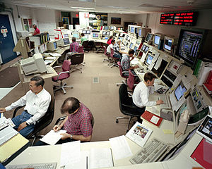 Computer desks in a Control room