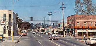 Tustin, California - D St at Main St, Tustin, 1950s