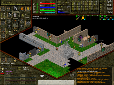 Multiple people chat and play online in the MMORPG Daimonin. Daimonin Stoneglow beta4.png