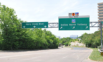 Dallas North Tollway - DNT at the Harry Hines Boulevard interchange