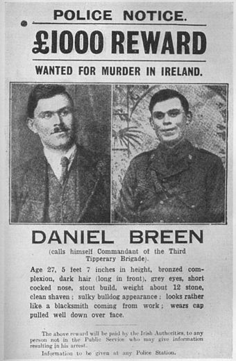 Police wanted poster for Dan Breen, one of those involved in the Soloheadbeg Ambush in 1919. Daniel Breen police notice.jpg