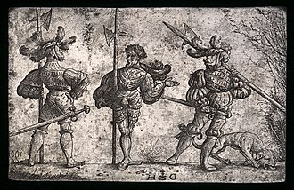 Etching - Daniel Hopfer, Three German Soldiers Armed with Halberds, c. 1510. An original iron etching plate from which the prints would be made. National Gallery of Art