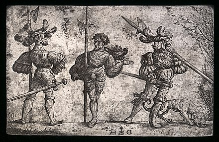 Daniel Hopfer, Three German Soldiers Armed with Halberds, c. 1510. An original iron etching plate from which the prints would be made. National Gallery of Art Daniel Hopfer, Three German Soldiers Armed with Halberds, c. 1510, NGA 159581.jpg