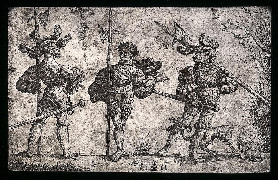 Daniel Hopfer, Three German Soldiers Armed with Halberds, c. 1510, NGA 159581
