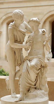 I pastori Dafni e Cloe in una statua di Jean-Pierre Cortot, conservata nel Museo del Louvre a Parigi