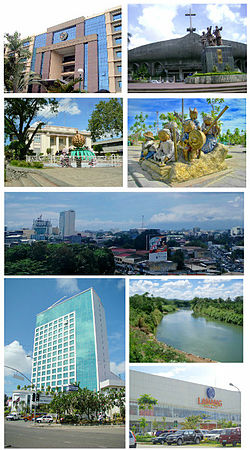 (From top, left to right): Ateneo de Davao, San Pedro Cathedral, City Hall of Davao, People's Park, Skyline of Davao City, Marco Polo Hotel Davao, Davao River, SM Lanang Premier