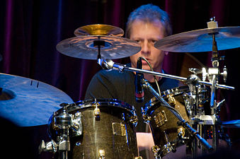 Dave Weckl with a ride cymbal fitted with a two rivet cluster