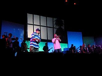 "Gorillaz - De La Soul performing ""Feel Good Inc."" with Gorillaz at the Demon Days Live concert in Manchester, England"