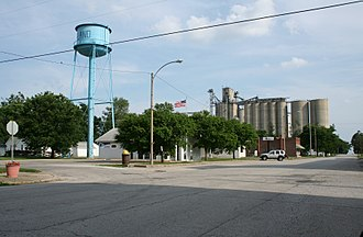 De Land, Illinois - Water tower, Post Office, Goose Creek Library and grain elevators in downtown De Land.