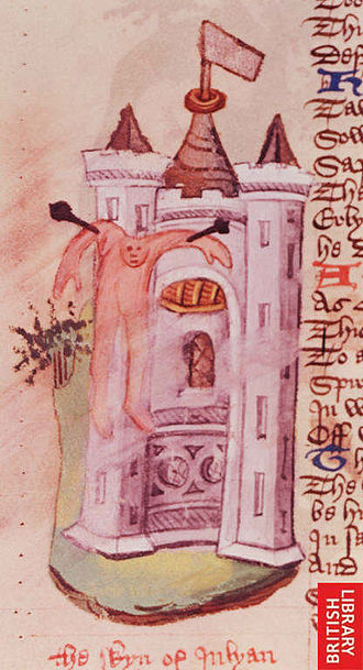 "Julian (emperor) - Illustration from The Fall of Princes by John Lydgate (which is a translation of De Casibus Virorum Illustribus by Giovanni Boccaccio) depicting ""the skyn of Julyan"". There is no evidence that Julian's corpse was skinned and displayed, and it is likely that the illustrator simply confused the fate of Julian's body with that of Emperor Valerian."