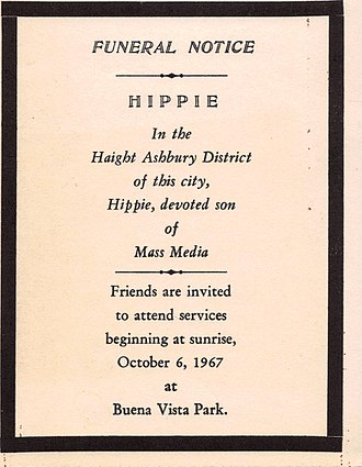 Summer of Love - Mock funeral notice