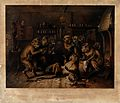 Debauched monkeys revelling in a dingy tavern as two have a Wellcome V0021455.jpg