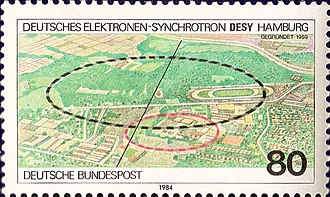 DESY - German 1984 postal stamp - 25th anniversary of DESY's foundation