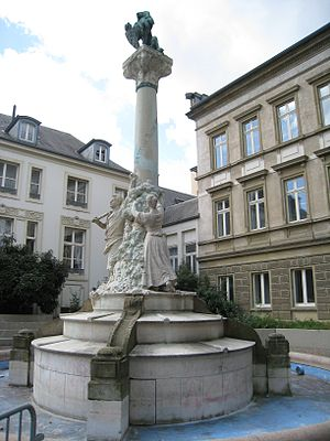 Luxembourg literature - Monument to Dicks and Michel Lentz on the Place d'Armes, Luxembourg