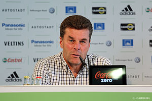 Dieter Hecking - Hecking at a press conference with Wolfsburg in 2013