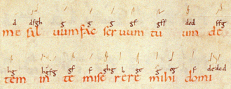 Neume - Digraphic neumes in an 11th-century manuscript from Dijon. Letter names for individual notes in the neume are provided