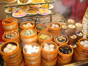 """Variety of """"dimsums"""" are being steam..."""