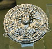 Repoussé silver disc of Sol Invictus, Roman, 3rd century, found at Pessinus (British Museum)