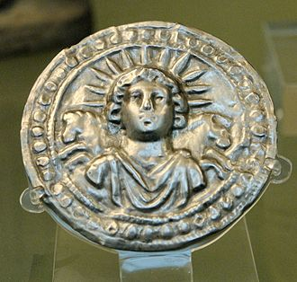 Saturnalia - Roman disc in silver depicting Sol Invictus (from Pessinus in Phrygia, 3rd century AD).