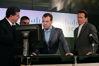 Cisco Systems - Russian President Dmitry Medvedev and California Gov. Arnold Schwarzenegger at Cisco, 2010.