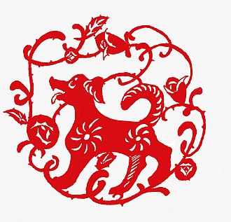 Dog (zodiac) - Chinese paper cutting of the Dog.