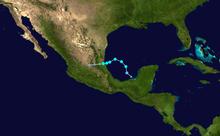 Un'immagine raffigurante le tracce di una tempesta tropicale di breve durata nella baia di Campeche.