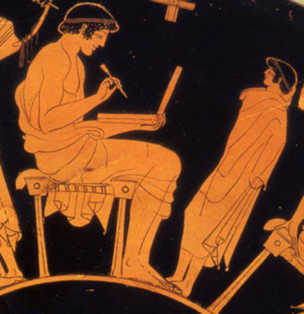 Writing with stylus and folding wax tablet. painter, Douris, ca 500 BC (Berlin). Douris Man with wax tablet.jpg