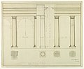 Drawing, Elevation of Section of a Wall with Columns and Arch at Left, 1884 (CH 18705669-2).jpg