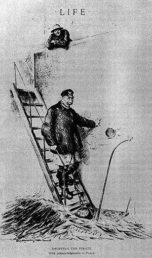 Eine Karikatur aus der amerikanischen Zeitschrift Life von William H. Walker, die Kaiser Wilhelm II. und einen Soldaten der Entente zeigt.