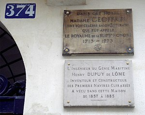 Henri Dupuy de Lôme - Henri Dupuy de Lôme lived at 374 Rue Saint-Honoré in Paris, from 1857 until his death in 1885 (detail of his commemorative plate on the right).
