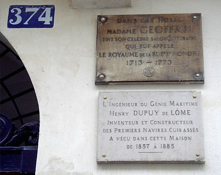Henri Dupuy de Lome lived 374 rue Saint-Honore from 1857 until his death in 1885. DupuyPlaque.jpg