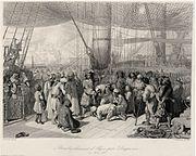 Duquesne fait liberer des captifs chretiens apres le bombardement d Alger en 1683