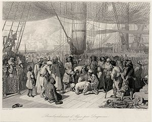Algiers - Abraham Duquesne delivering Christian captives in Algiers after the bombing in 1683.