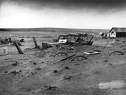 A South Dakota farm during the Dust Bowl, 1936 Dust Bowl - Dallas, South Dakota 1936.jpg