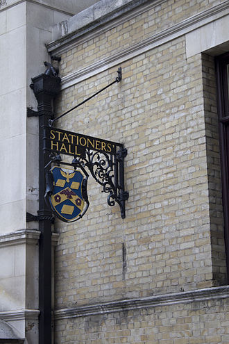 Worshipful Company of Stationers and Newspaper Makers - Stationers' Hall, London (2013 photo)