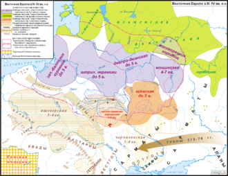 Balts - Map of eastern Europe in 3-4th century CE with archeological cultures identified as Baltic-speaking in purple. Their area extended from the Baltic Sea to modern Moscow.