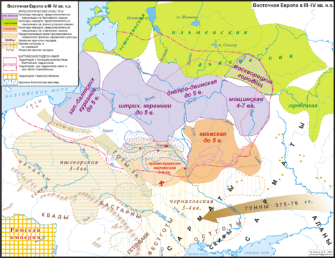 Map of the ancient Baltic homelands at the time of the Hunnish invasions (3rd-4th c. AD). Baltic cultural areas (identified archaeologically) are in purple. The Baltic sphere originally covered Eastern Europe from the Baltic Sea to modern Moscow. East europe 3-4cc.png