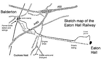 Eaton Hall Railway - The Eaton Hall Railway in relation to modern highways