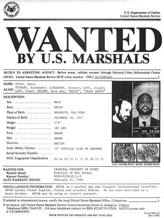Crazy Eddie - February 27, 1990 arrest warrant for Eddie Antar
