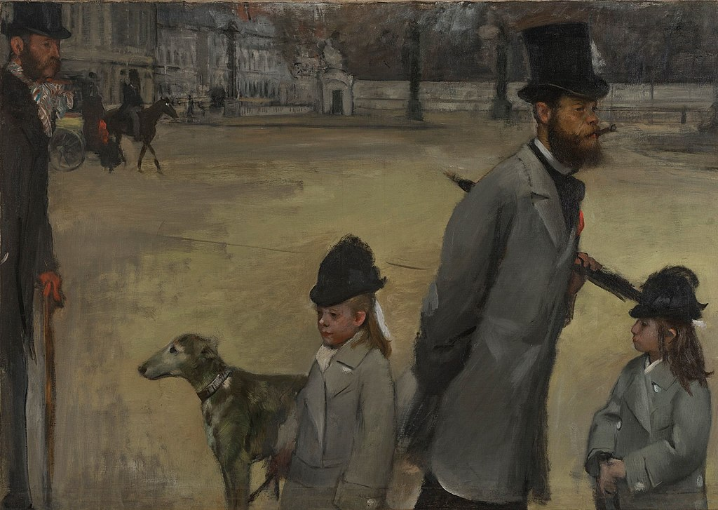 Viscount Lepic and his Daughters Crossing the Place de la Concorde by Edgar Degas.
