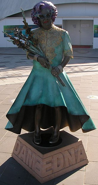 Dame Edna Everage - Bronze statue of Dame Edna at Waterfront City, Docklands, Melbourne
