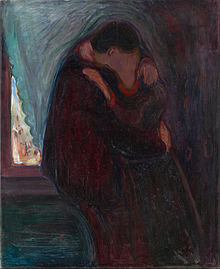 A depiction of two people kissing
