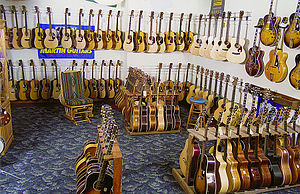 Elderly Instruments - A section of the Elderly showroom offering acoustic and archtop electric guitars