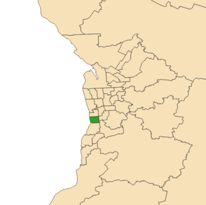 Electoral district of Gibson - 2018 boundaries shown in green in Adelaide area