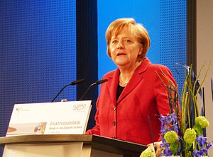 English: German Chancellor Angela Merkel at th...
