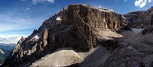 Massif of Elferkogel (Cima Undici) in the Sexten Dolomites.