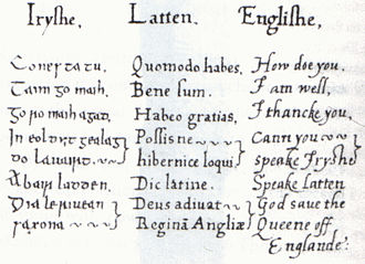 Tudor conquest of Ireland - Multilingual phrase book compiled by Sir Christopher Nugent for Elizabeth I of England.