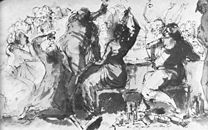 "Ge rum i Bröllopsgåln din hund! - ""A noisy company"". Wash drawing by Johan Tobias Sergel (1740–1814)"